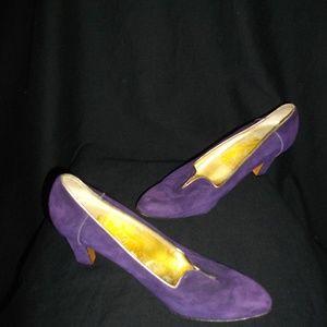 Ferragamo Purple Gold Suede High Heels Shoes